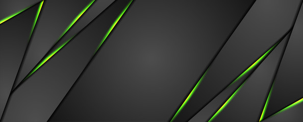 Black abstract corporate graphic design with green glowing light. Technology concept background. Vector illustration