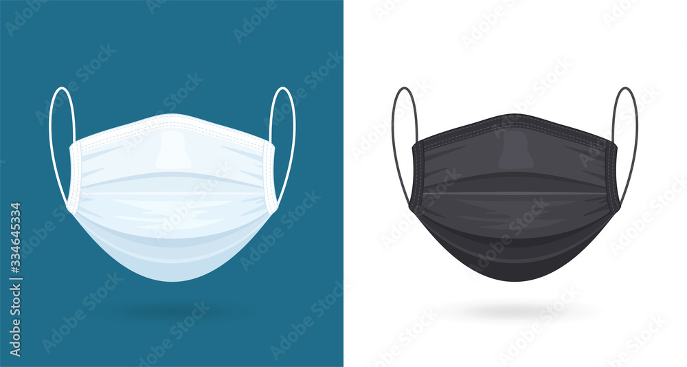 Fototapeta Black and White Medical or Surgical Face Masks. Virus Protection. Breathing Respirator Mask. Healthcare Concept. Vector Illustration