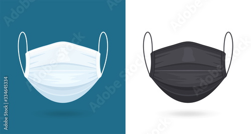 Obraz Black and White Medical or Surgical Face Masks. Virus Protection. Breathing Respirator Mask. Healthcare Concept. Vector Illustration - fototapety do salonu