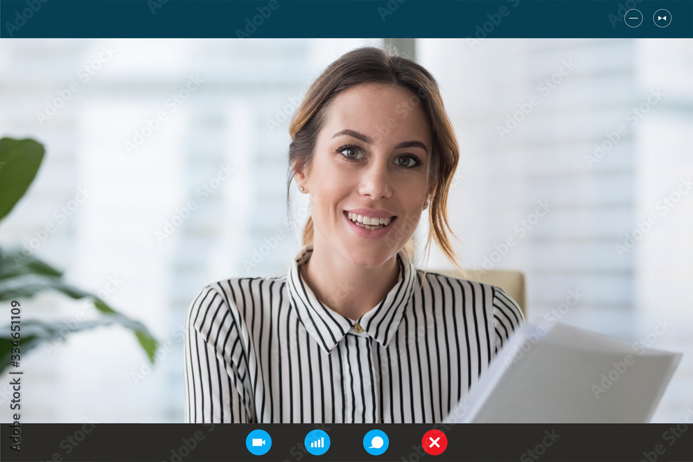 Fototapeta Headshot portrait screen view of young businesswoman consult client online using Webcam conference, smiling female employee speak talk on video call with partner or colleague from home office