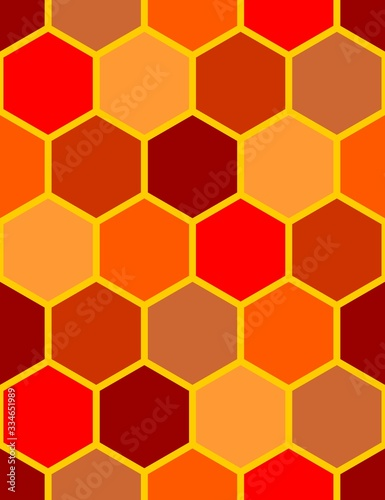 Fototapeta Abstract seamless pattern with different colored red hexagons