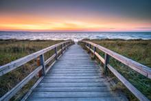 Wooden Walkway Along The Beach, North Sea Coast, Germany