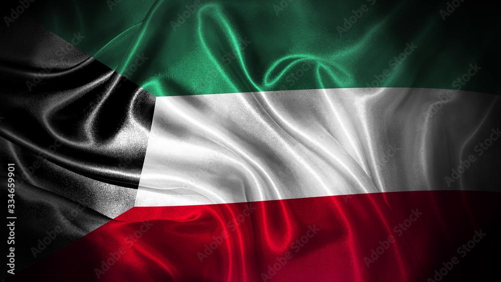 Fototapeta Close up waving flag of Kuwait. National Kuwait flag.