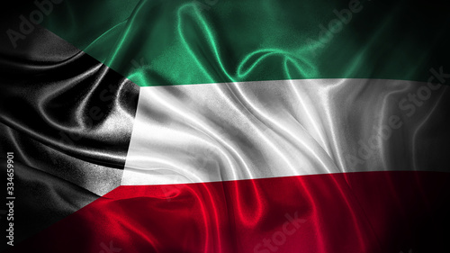 Fotografia Close up waving flag of Kuwait. National Kuwait flag.