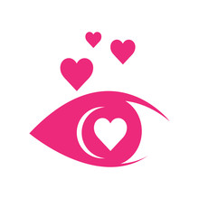 Love At First Sight Lovely Eye Logo Design Template Vector Illustrations