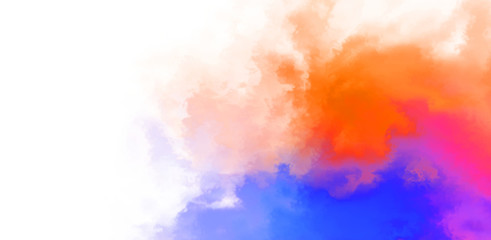 Abstract colorful watercolor on white background. Digital art painting.
