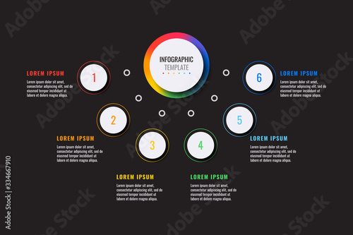 business infographic template with six white round realistic elements on a black background Slika na platnu