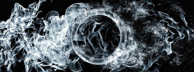 抽象的な青白い炎の輪