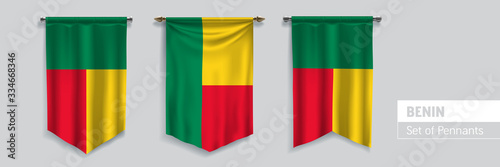 Set of Benin waving pennants on isolated background vector illustrationn Canvas Print