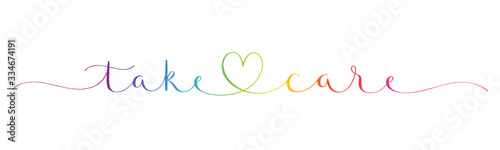Fototapeta TAKE CARE rainbow-colored vector brush calligraphy banner with swashes obraz
