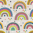 seamless pattern with colorful rainbows on gray background - vector illustration, eps