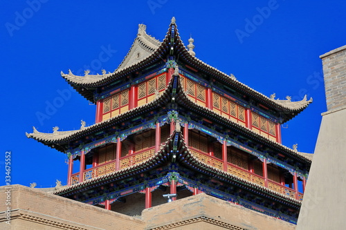 Photo Three-story tower over Rouyuan Men-Conciliation Gate-western gate Jiayuguan fort