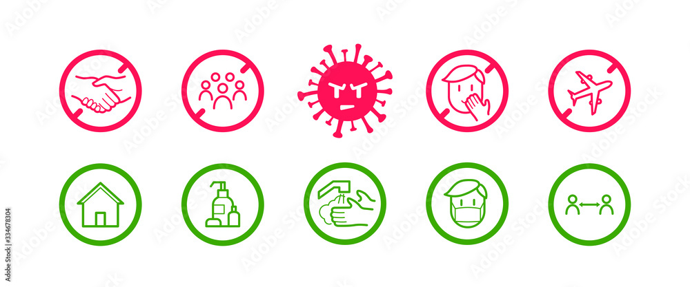 Fototapeta Coronavirus icon set for infographic with prevention tips and recommendations. Isolated corona virus flat signs with precautions and preventions to stop spreading. Vector