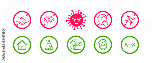 Photo Coronavirus icon set for infographic with prevention tips and recommendations