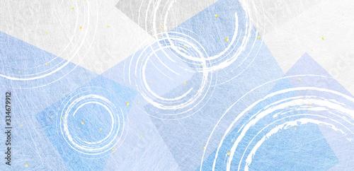 Tela 波紋のパーターンとブルーの和紙の背景素材