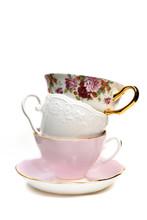 Stack Of Empty Porcelain Tea C...