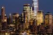 Beautiful view of New York city skyline at night, USA