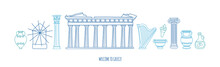 Vector Modern Illustration Welcome To Greece. Doodle Parthenon, Antique Columns, Vases In Blue Color. Famous Greek Symbols And Landmarks. Panoramic City View For Web Banner Or Greeting Card Design.
