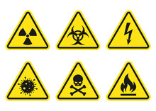 Warning Signs Set - Danger, Ra...