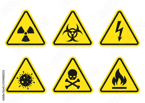 Foto Warning signs set - danger, radiation, biohazard, death, voltage, flame, virus