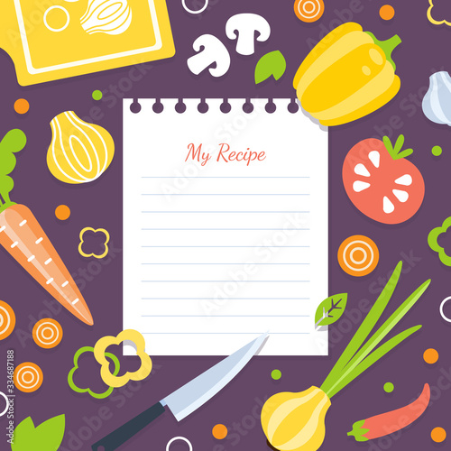 Fotomural My Recipe Blank Card Template with Fresh Vegetables Pattern, Cookbook Page Vecto