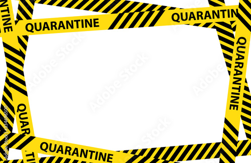Obraz Yellow quarantine warning tape frame with place for text. vector Illustration isolated on white background. graphic warning text of quarantine banner. Coronavirus, Covid-19 outbreak - fototapety do salonu