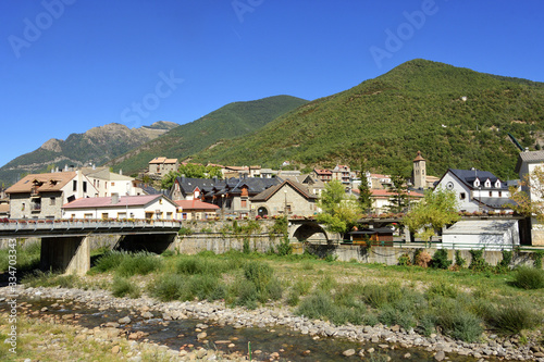 village of Biescas and river Gallego, Huesca province, Aragon, Spain