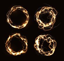 Magic Rings, Abstract Electric Circles, Golden Round Frames, Luminous Circular Lightning