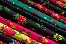 Colorful Fabric Scarves In Sta...
