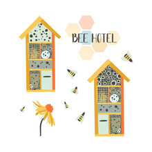 Bee Hotel. Wood House With Compartments And Natural Components. House In Garden For Insect. Flat Vector Illustration. Perfect For Poster, Print