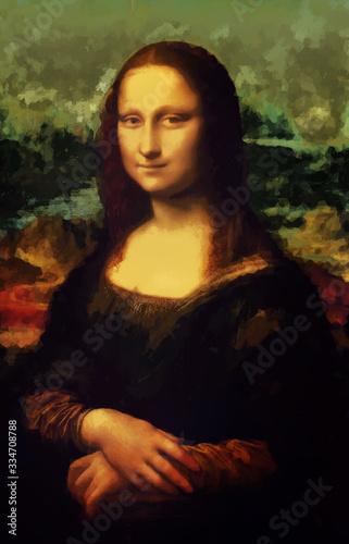 Photo Mona Lisa La Joconde - Leonardo da Vinci painting in Low Poly style