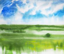 Watercolor Summer Landscape An...