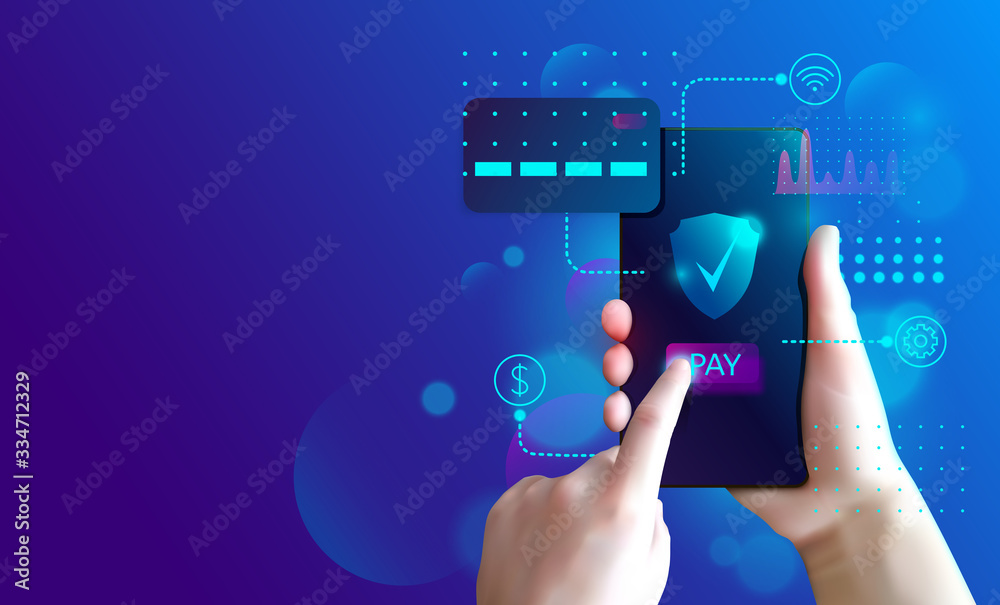 Fototapeta Internet banking concept. Online payment security transaction.