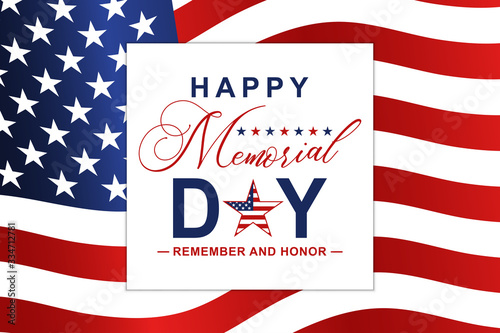 Fotomural Happy Memorial Day background with national US flag and lettering