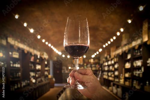 Tela bicchiere di vino rosso