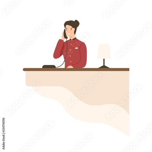 Photo Friendly cartoon woman working on hotel reception vector flat illustration