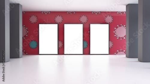 Fototapeta 3d gallery room illustration  interior design with wallpaper  virus covid-19 (3D rendering) obraz