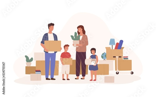 Obraz Happy cartoon family relocating to new apartment isolated on white background. Smiling mother, father, daughter and son holding packing boxes vector flat illustration. House moving concept - fototapety do salonu