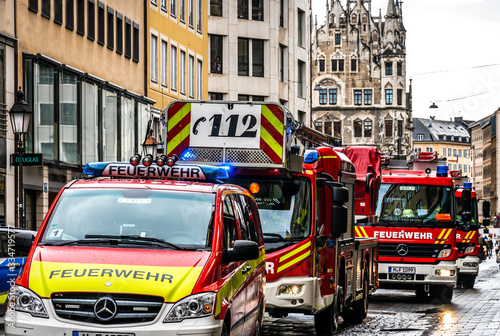 Tela Munich, Germany - February 11: typical german fire trucks and police car in Muni