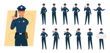 Policewoman Character Set. Different Poses And Emotions. Vector Illustration In A Flat Style