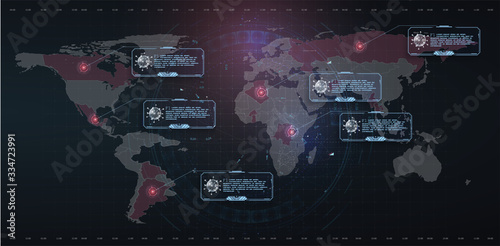 Coronavirus text outbreak with the world map in style HUD. Circle element cyber futuristic concept. Virus danger, infected places on earth. Red lesions of coronavirus. World pandemic 2020. Vector