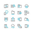 Set of custom development outline icons