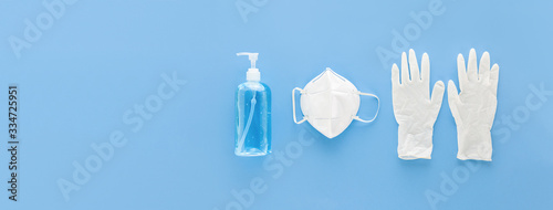 Fotografia Medical gloves mask and alcohal gel for protecting infection during Coronavirus