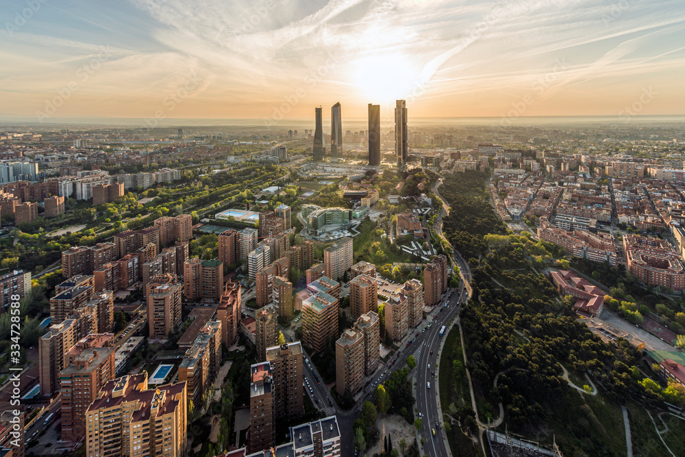 Fototapeta Aerial view of Madrid at sunrise