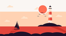 Lighthouse With Ocean Or Sea Beach View On Background In Flat Style. Vector Marine Navigation.Nature Seascape Background, Concept
