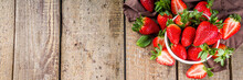 Heap Of Fresh Organic Strawberries In Ceramic Bowl On Rustic Wooden Background? Copy Space