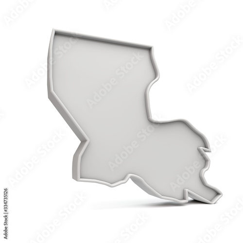 American state of Louisiana, simple 3D map in white grey Wallpaper Mural