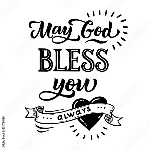 Handwritten lettering phrase May God, bless you always Canvas Print