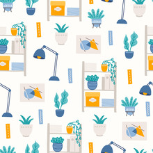 Home Office Seamless Pattern With Lamp, Books, Home Plants, Documents
