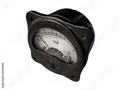 Photo Closeup of a old analog ammeter for 10 ampere of direct current, isolated on white